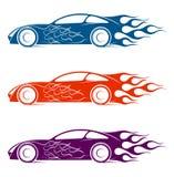 Silueta dinámica del coche, temas automotrices del logotipo Imágenes de archivo libres de regalías