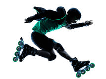 Silueta en línea del perfilado del rodillo del patinador del rodillo del hombre Imagen de archivo libre de regalías