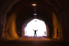 Silueta en túnel Fotografía de archivo libre de regalías