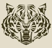 Silueta enojada del complejo de la pista del tigre Imagenes de archivo