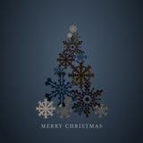 Silueta estilizada del árbol de navidad de los copos de nieve Tarjeta de felicitaciones de la Feliz Año Nuevo 2015 Vector Fotografía de archivo