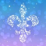 Silueta estrellada de la flor de lis en el fondo violeta y azul Imagen de archivo