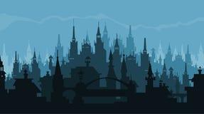 Silueta europea de la ciudad de edificios en estilo gótico Fotografía de archivo libre de regalías