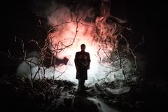 Silueta extraña en un bosque fantasmagórico oscuro en la noche, luces surrealistas del paisaje místico con el hombre espeluznante imagen de archivo