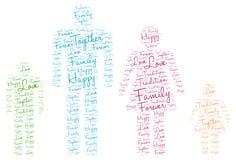Silueta feliz de la familia: Etiqueta de la nube de la palabra del amor Foto de archivo libre de regalías