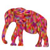 Silueta geométrica colorida del elefante del mosaico de Absract, IL Imagen de archivo