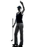 Silueta golfing del golfista de la mujer Imagen de archivo