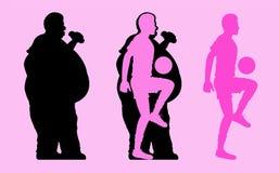 Silueta gorda y delgada del hombre que juega a fútbol libre illustration
