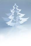 Silueta hecha a mano blanca hermosa del árbol de navidad - vertical Fotos de archivo