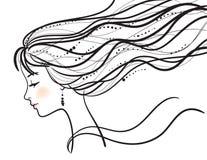 Silueta hermosa de la cara de la mujer Imagen de archivo