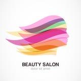 Silueta hermosa de la muchacha con el pelo que fluye colorido Extracto Imagen de archivo libre de regalías
