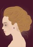 Silueta hermosa de la mujer del pelo-estilo moderno Fotografía de archivo libre de regalías