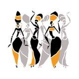 Silueta hermosa de los bailarines Imagen de archivo libre de regalías