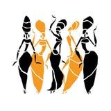 Silueta hermosa de los bailarines Foto de archivo libre de regalías