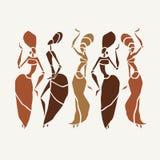 Silueta hermosa de los bailarines Imágenes de archivo libres de regalías