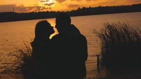 Silueta hermosa de los pares románticos que descansan en caricias en la igualación del lago almacen de metraje de vídeo