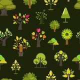 Silueta inconsútil del verde del fondo del modelo del árbol verde para el vector de la colección del diseño del emblema del eco d Fotos de archivo