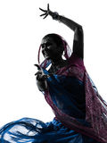 Silueta india del baile del bailarín de la mujer Foto de archivo libre de regalías