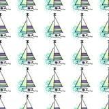 Silueta infantil de los yates del modelo en onda stock de ilustración