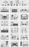 Silueta interior de los elementos de la casa Fotos de archivo libres de regalías
