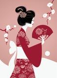 Silueta japonesa de la muchacha Foto de archivo libre de regalías