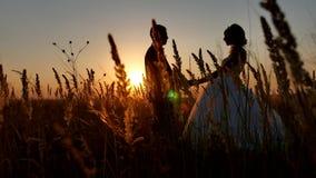 Silueta joven de los pares de la boda romántica pares cariñosos en la silueta del hombre y de la muchacha de la puesta del sol almacen de metraje de vídeo