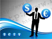 Silueta joven del hombre de negocios con el dinero en circulación Imagenes de archivo