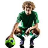 Silueta joven del hombre del jugador de fútbol del adolescente aislada Fotos de archivo libres de regalías