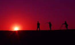 Silueta la India de la puesta del sol del verano Imágenes de archivo libres de regalías