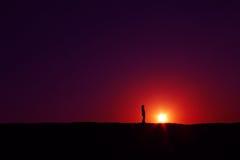 Silueta la India de la puesta del sol del verano Fotografía de archivo libre de regalías