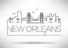 Silueta linear de la ciudad de New Orleans con diseño tipográfico Foto de archivo libre de regalías