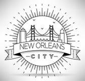 Silueta linear de la ciudad de New Orleans con diseño tipográfico Fotos de archivo libres de regalías