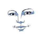 Silueta a mano monocromática de la cara romántica de la mujer Fotografía de archivo libre de regalías
