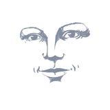 Silueta a mano monocromática de la cara romántica de la mujer, delicat Imagen de archivo