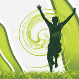 Silueta masculina alegre en el fondo verde ilustración del vector