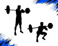 Silueta masculina fuerte que hace ejercicio agazapado delantero del crossfit ilustración del vector