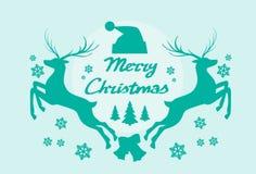 Silueta Mery Christmas Poster del reno stock de ilustración