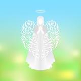 Silueta moderna del ángel con las alas de los ornamentos Foto de archivo libre de regalías
