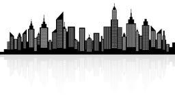 Silueta moderna del horizonte de los rascacielos de la ciudad Imágenes de archivo libres de regalías