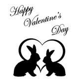 Silueta monocromática de dos conejos y de un corazón. DA de la tarjeta del día de San Valentín Imagenes de archivo