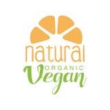 Silueta natural de Logo Design Template With Fruit del verde de la comida del vegano que promueve forma de vida sana y los produc Imagenes de archivo