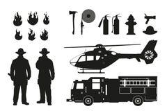 Silueta negra de bomberos y del equipo de la lucha contra el fuego en el fondo blanco Helicóptero y coche de los firemans Imagenes de archivo