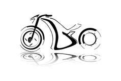 Silueta negra de la motocicleta Imagenes de archivo