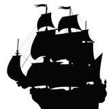 Silueta negra del bergantín Imágenes de archivo libres de regalías