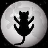 Silueta negra del gato delante de la Luna Llena Foto de archivo libre de regalías