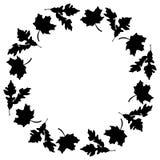 Silueta negra del ornamento de la guirnalda de las hojas de otoño Elemento del diseño del modelo de la caída stock de ilustración