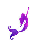 Silueta púrpura y rosada de la sirena ilustración del vector