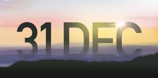 Silueta para el 31 de diciembre Imagen de archivo libre de regalías