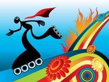 Silueta patinadora en el fondo del verano ilustración del vector