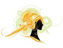 Silueta principal de la mujer, diseño del peinado stock de ilustración